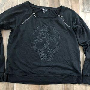 Rock & Republic black beaded skull zipper knit top